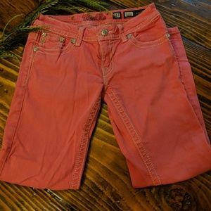 Miss Me Coral Colored Cropped Jeans -Size 27